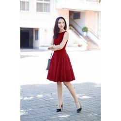 Đầm xòe đỏ đơn giản DNT410