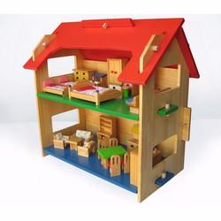 Đồ chơi gỗ cho bé nhà búp bê 2 tầng to Alengkeng MT35