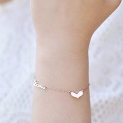 Lắc tay titan trái tim cách điệu chữ love màu vàng hồng - TA079
