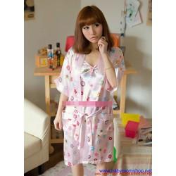 Đầm ngủ 2 dây kèm áo choàng họa tiết trẻ trung cực dễ thương DNA5