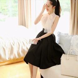 Sét áo sơ mi cột nơ+ chân váy xoè siêu xinh