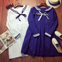 Đầm baby doll thêu thủy thủ