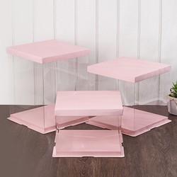 Hộp nhựa PET đựng bánh - Barbie CAKE 8in - White - Trắng