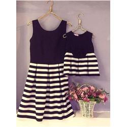 Đầm Đôi Xòe Phối Váy Sọc Dễ Thương HGS 359