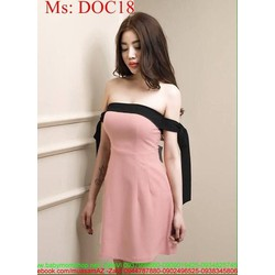 Đầm ống cúp ngực sexy phối viền đen sành điệu DOC18