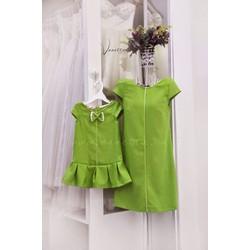 Đầm đôi mẹ bé màu xanh trẻ trung HGS 358