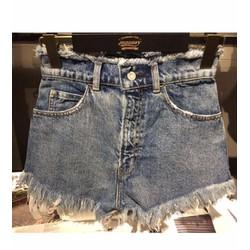 Quần short jeans cạp cao tua Mã: QN706 - XANH