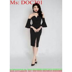Đầm body đen cúp ngực phối tay kiểu sành điệu DOC301