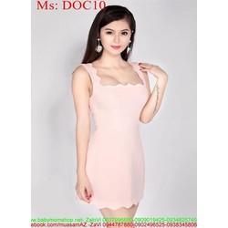 Đầm dự tiệc màu hồng dễ thương đơn giản phối viền răng cưa DOC10