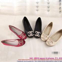 Giày búp be nữ mũi tròn đính tag channel sang trọng GBB83