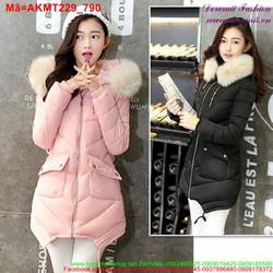 Áo khoác phao nữ phồi nón lông sang trọng nổi bật AKMT229