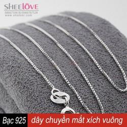 Dây chuyền bạc 925 mắt xích vuông thời trang xinh xắn kiểu mới SN-L01