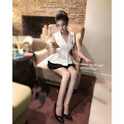 Mimihouse- Set áo peplum vest chân váy hàng thiết kế
