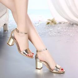 Giày gót vuông ánh vàng thời trang - LN759