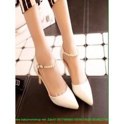 Giày cao gót công sở kiểu mũi nhọn hờ 2 bên sành điệu GCN235