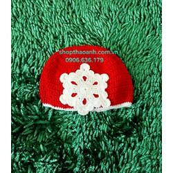 Nón len Noel hình bông tuyết size 2 tháng - 5 tháng