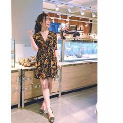 Đầm xoè hoa 3D cột eo _MỎ CHU SHOP