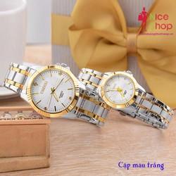 Đồng hồ đôi Chenxi dây thép 2 sọc vàng sang trọng