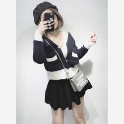 Áo len nút phối màu xinh iu hàng QC
