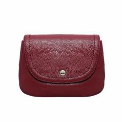Túi đeo chéo nữ cỡ nhỏ da bò thật cao cấp ELMI màu đỏ đô ETM549
