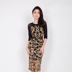 Đầm Ren Kim Tuyến Nhũ Phối Lưới Cao Cấp