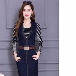 Đầm jean kèm áo thun M,L