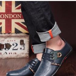 Giày da xanh navy hàn quốc HQD07