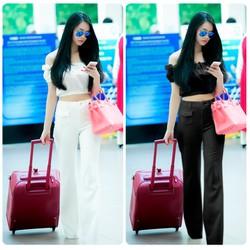 Set nguyên bộ áo croptop bẹt vai quần dài 2 túi trước giống Linh Chi