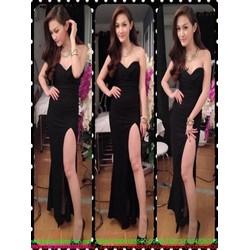 Đầm maxi cúp ngực và xẻ đùi cao quyến rũ sành điệu DDH338