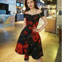 Đầm xoè hoa bẹt vai