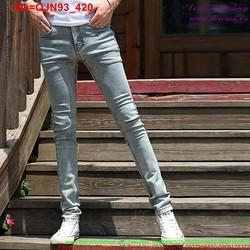 Quần jean nam xanh trơn đơn giản dễ phối đồ QJN93
