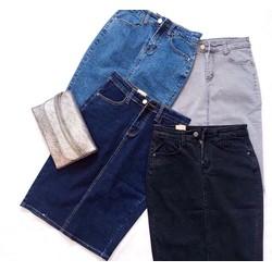 Chân váy jeans ôm co dãn tốt