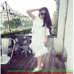 Đầm suông trắng thiết kế thời trang phối tua rua sành điệu DSV154