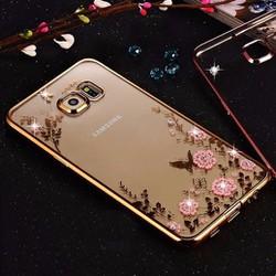 Ốp lưng dẻo đính đá viền màu Galaxy S7 Edge
