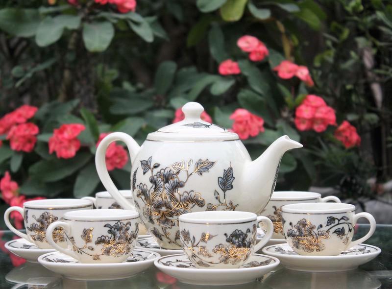 Bộ trà Chu đậu vẽ vàng dáng khum hoạ tiết hoa phù dung S2 1