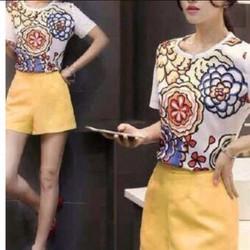 Sét áo hoạ tiết hoa + quần short
