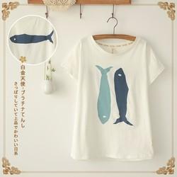 Áo thun hai con cá đảo ngược phong cách Nhật Bản