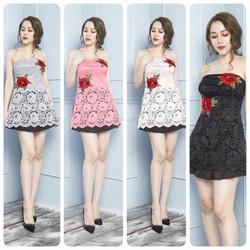 Set áo cúp ngực ren hoa hồng chân váy