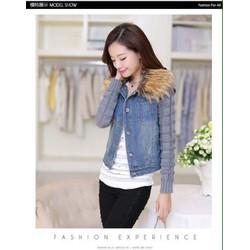 Áo khoác jean tay len kèm lông cổ KL520T