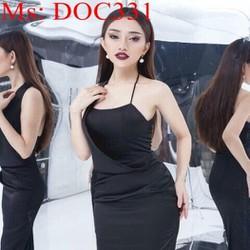 Đầm body đen 2 dây thiết kế mới lạ và thời trang DOC331