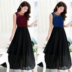 Đầm Maxi Phối Ren Gợn Xanh Lysta TP150-945