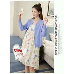 Đầm Bầu TARA đầm hoa kèm áo khoác