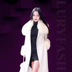 Áo khoác dạ nữ phối lông chồn dáng dài màu trắng TV876