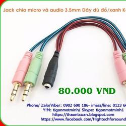 Jack chia micro và audio KotionEach Dây dù 20cm