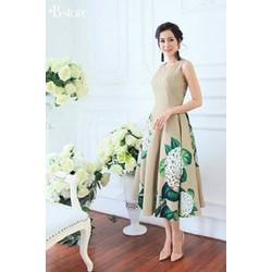 Đầm tùng xòe form dài cổ tròn sát nách họa tiết Hoa Cẩm Tú Cầu