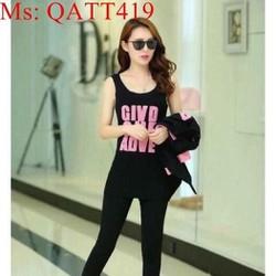 sét thể thao nữ áo khoác kiểu thêu chữ phối quần dài sành điệu QATT419