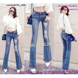 Quần jean nữ lưng cao 1 nút ống loe rách cá tính QJE276