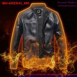 Áo khoác da nam màu đen sành điệu cá tính AKEN43