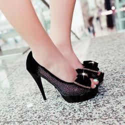 Giày cao gót đính nơ siêu gọi cảm