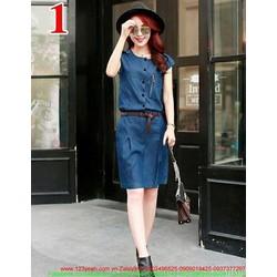Đầm công sở jean tay con phong cách sành điệu mDCS83